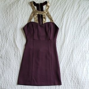 NWT: TOBI Purple and Gold Sequined Party Dress, S